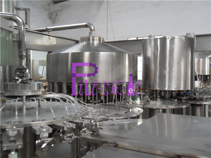 Automatic Monoblock Pulp Juice Filler , Three In One Filling Machine